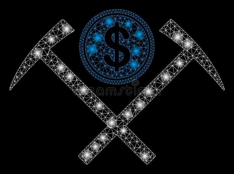 Martillos mineros dólar brillante de la malla del 2.o con los puntos de la llamarada ilustración del vector