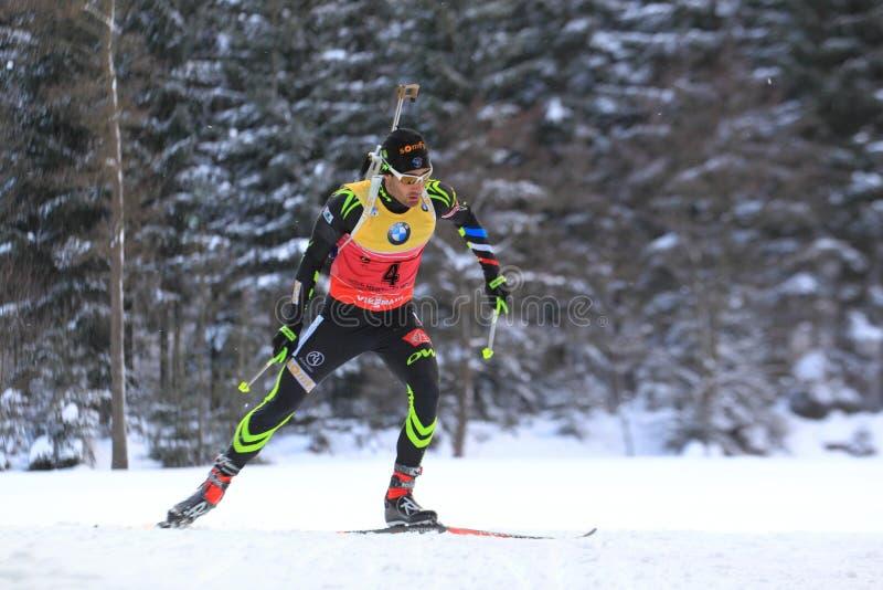 Martin Fourcade - world cup in biathlon royalty free stock photo