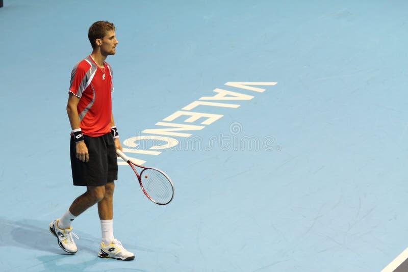 Martin Klizan en el tenis abierto España de Valencia imagenes de archivo