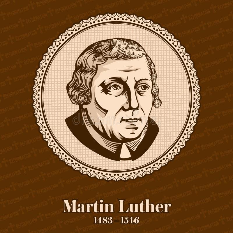 """Martin Luther †1483 """"1546 var en tysk professor av teologin, kompositören, prästen, munken och ett sädes- diagram i protestante royaltyfri illustrationer"""