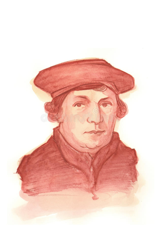 Martin Luther akvarellstående vektor illustrationer