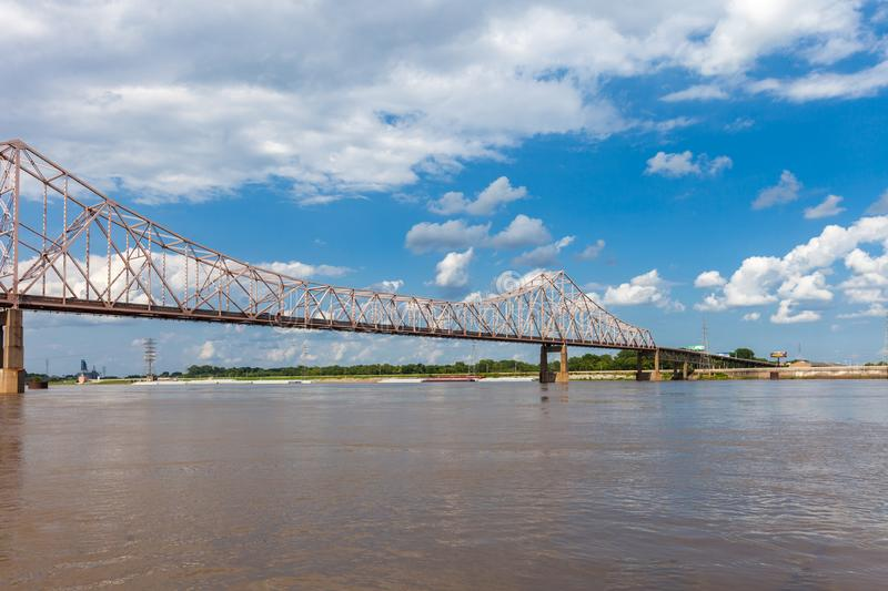 Martin Luther King Bridge over the Mississippi River connecting. St. Louis, Missouri with East St. Louis, Illinois royalty free stock photography