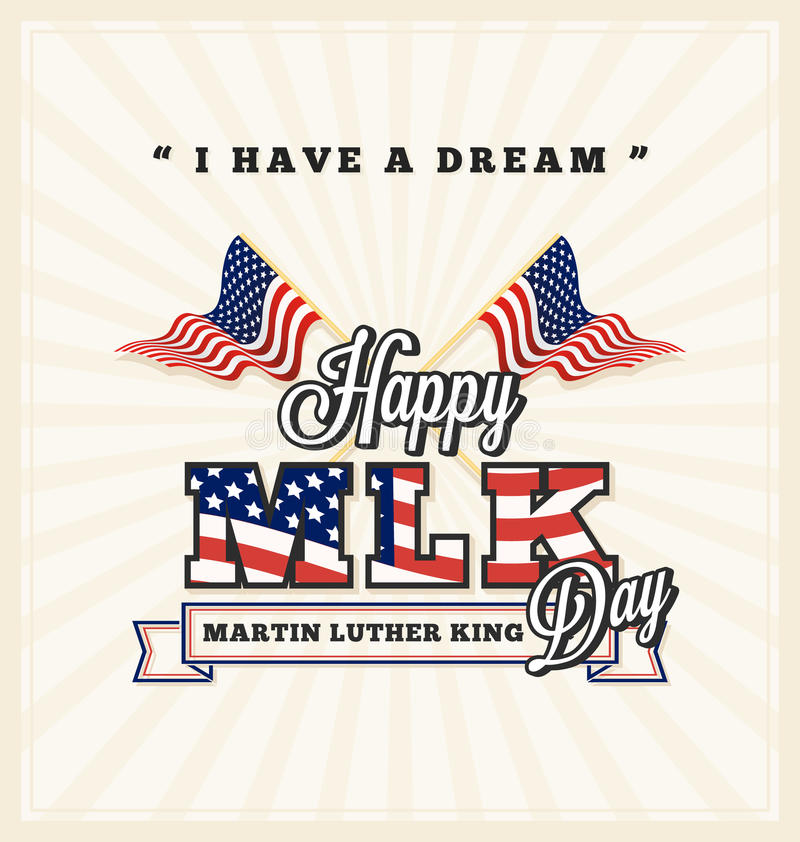 Martin Luther King daghälsning stock illustrationer