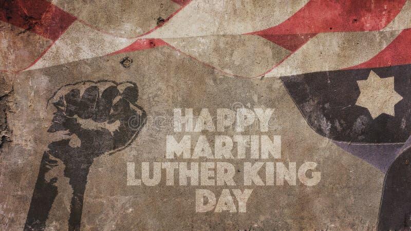 Martin Luther King Day feliz Los E.E.U.U. señalan el hormigón por medio de una bandera imagen de archivo libre de regalías