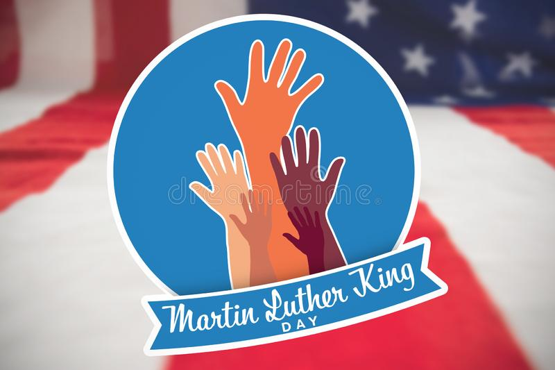 Composite image of martin luther king day with hands. Martin Luther king day with hands against close-up of american flag stock illustration