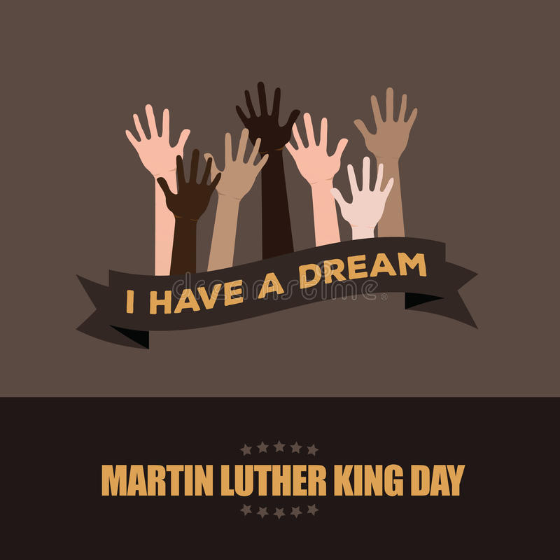 Martin Luther King Day Hands Raised-Ontwerp royalty-vrije illustratie