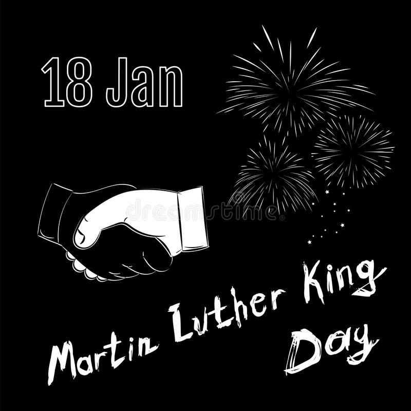 Martin Luther King Day på svart bakgrund Handskakning med brand vektor illustrationer