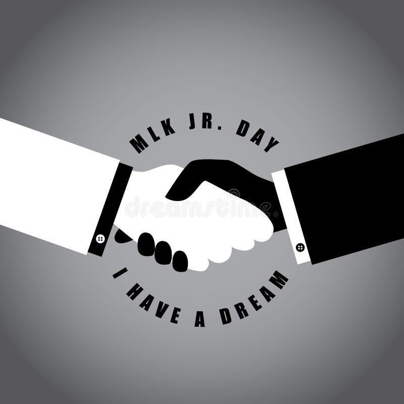 Martin Luther King Day som skakar händer stock illustrationer