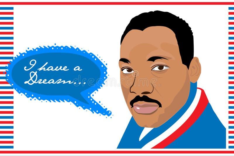 Martin Luther King Jr .i tem um sonho ilustração royalty free