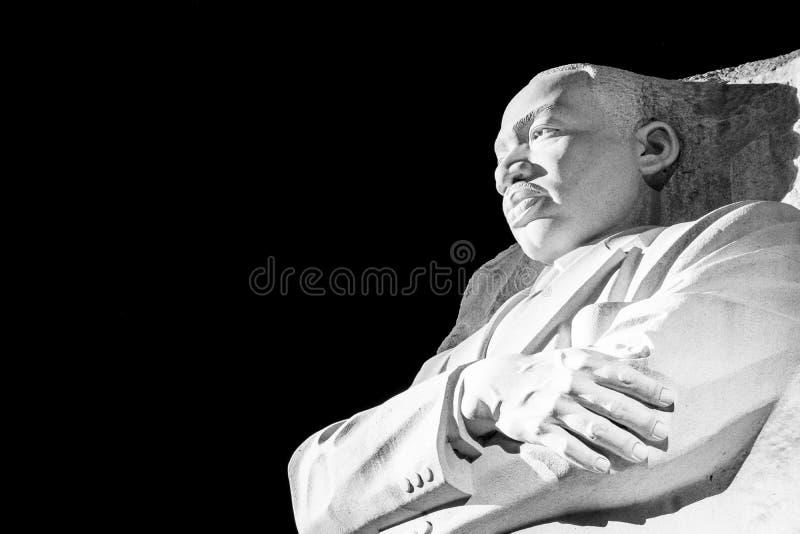 Martin Luther King Jr Memorial Statue-Washington DCnacht Evenin stock afbeelding
