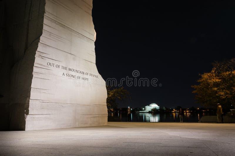 Martin Luther King Jr Memorial Statue-Washington DCnacht Evenin stock afbeeldingen