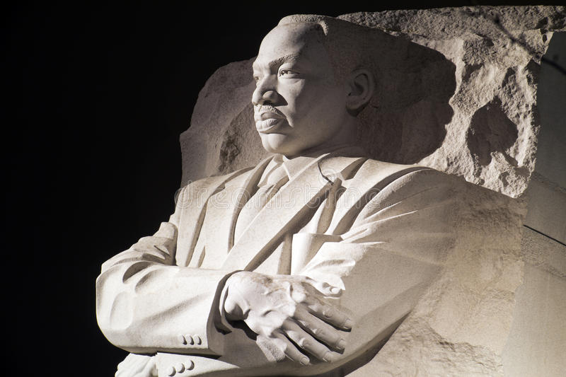 Martin Luther King Jr Monument in Washington DC ,. At night stock images