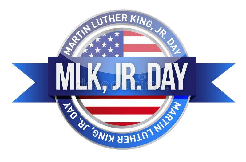 Martin Luther King Jr. nosotros sello y bandera stock de ilustración