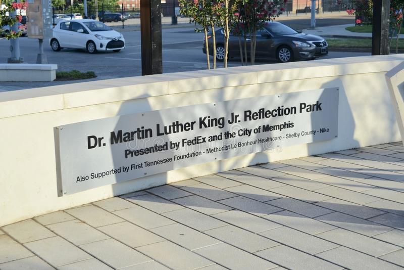 Martin Luther King Jr Parque Memphis, Tennessee de la reflexión imagen de archivo libre de regalías