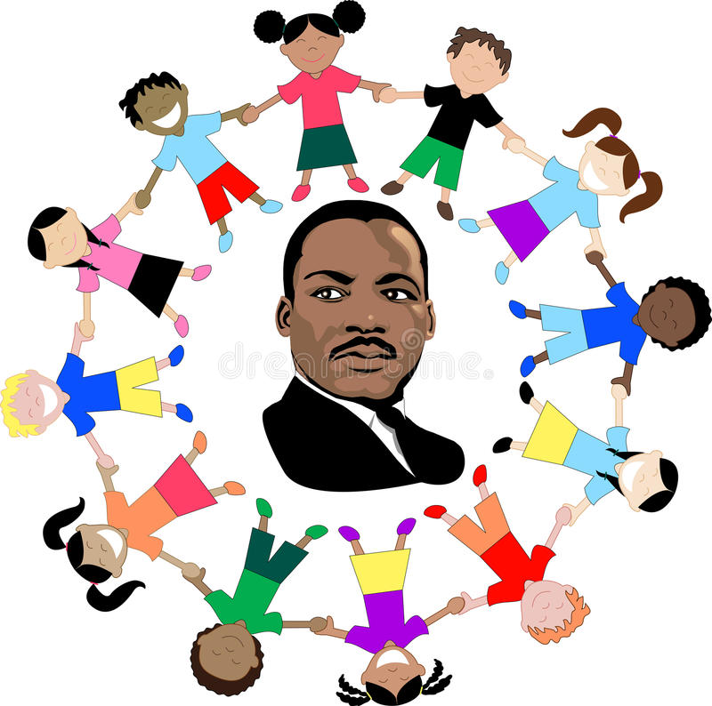 Martin Luther King with kids. Vector Dr. Martin Luther King Jr. dream came true