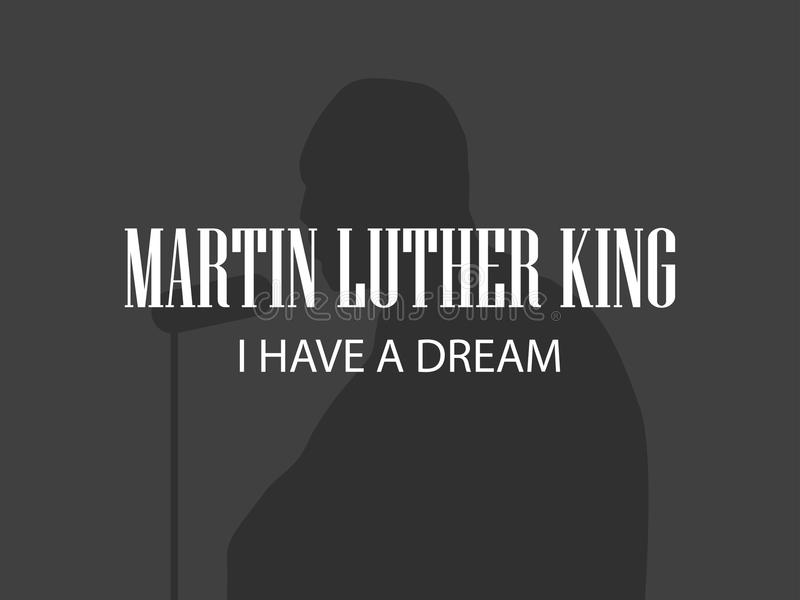 Martin Luther King Mänsklig kontur på svart bakgrund Mlk dag vektor royaltyfri illustrationer