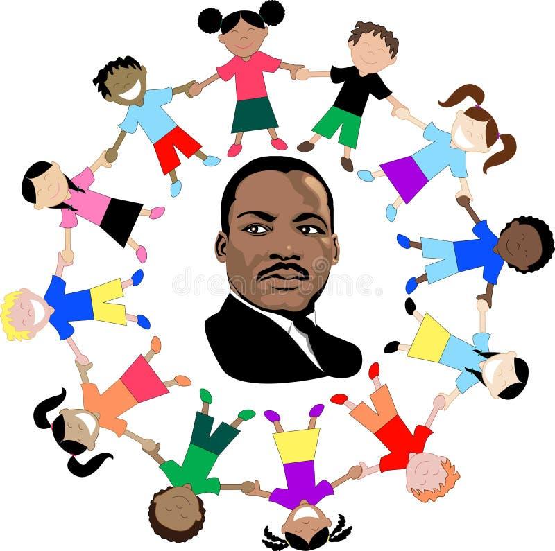 Martin Luther King met jonge geitjes royalty-vrije illustratie