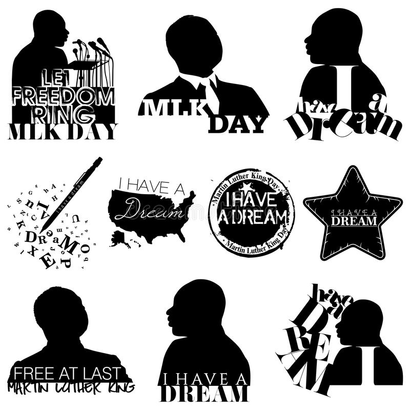 Martin Luther King Mnemonics royaltyfri illustrationer