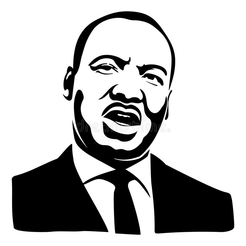 Martin Luther King portrait stock illustration