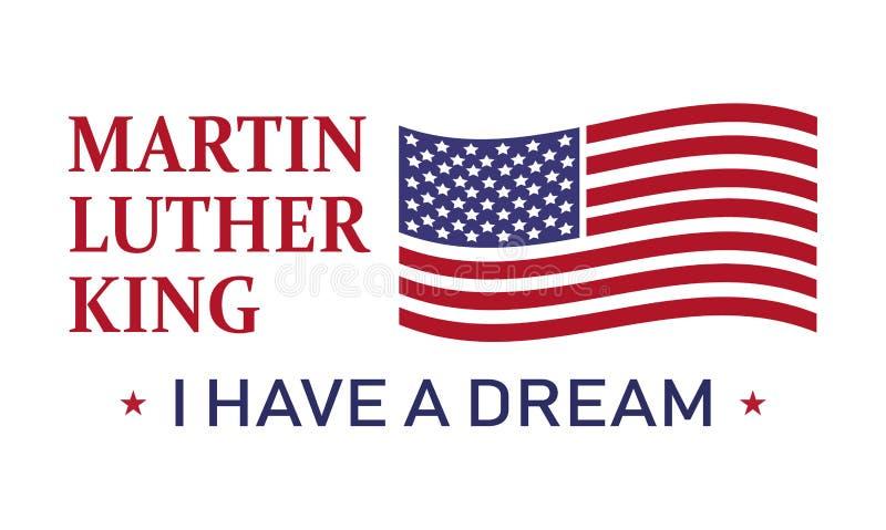 Martin Luther King-Tag, habe ich einen Traum, Vektorikonenillustration lizenzfreie abbildung