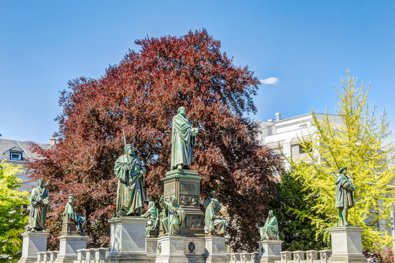 Martin Luther Memorial in Wormen royalty-vrije stock foto's