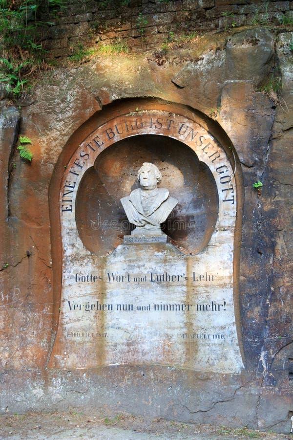 Martin Luther-monument in Slechte Schandau, Saksisch Zwitserland royalty-vrije stock afbeelding