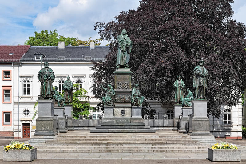 Martin Luther Monument in Worms, Germany. The monument was unveiled in 1868. The german text on the pedestal reads: `Here I stand, I cannot do otherwise. God royalty free stock photo