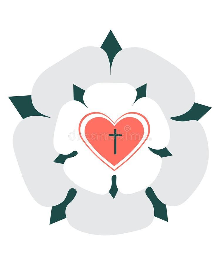 Martin Luther Rose Seal lokalisierte Vektorillustration Luther Rose, Symbol von Lutheranism, gezeichnet in moderne Minimalistic-A vektor abbildung