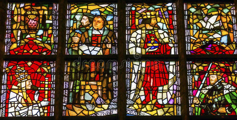 Martin Luther Stained Glass New Cathedral Nieuwe Kerk Delft Neth royalty-vrije stock foto
