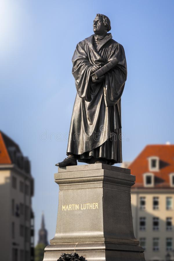 Martin Luther Statue Dresden Germany stock afbeelding