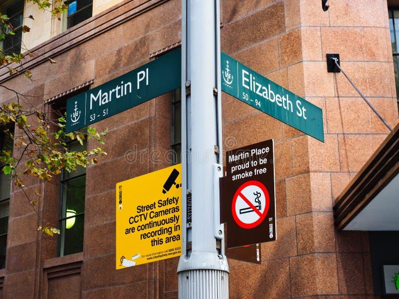 Martin miejsce i Elizabeth Strete znaki, Sydney CBD, Australia obrazy stock