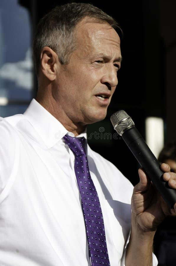 Martin O'Malley, ex governatore del Maryland e candidato alle presidenziali USA, presenta Beto O'Rourke ad Aurora, Colorado fotografia stock libera da diritti