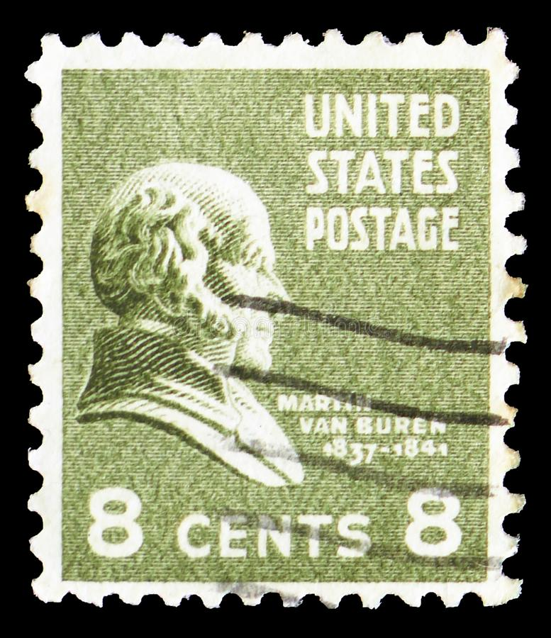 Martin Van Buren 1782-1862, eighth President of the U.S.A., Presidential Issue serie, circa 1938. MOSCOW, RUSSIA - MARCH 23, 2019: A stamp printed in United stock image