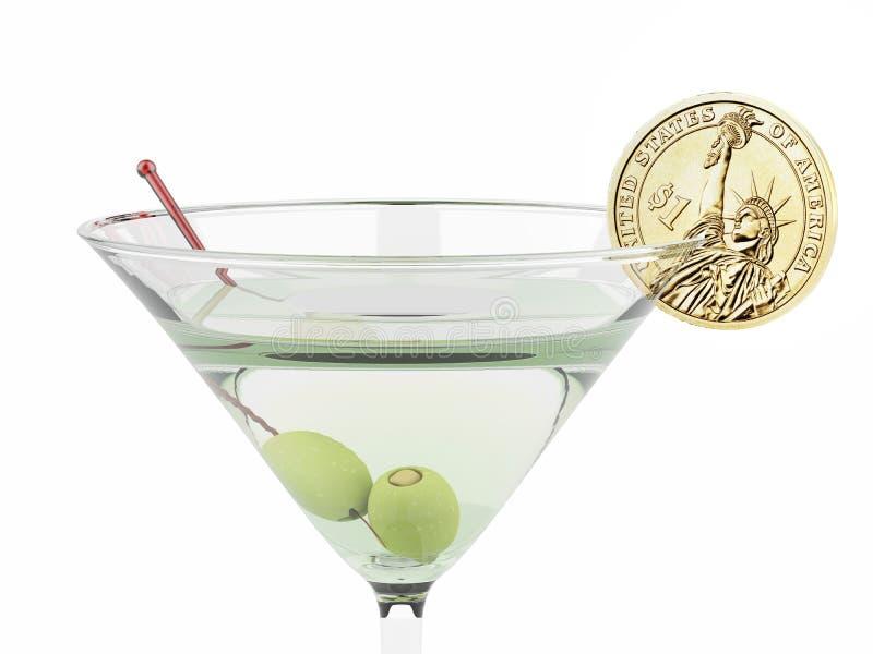 Martini γυαλί και τεμαχισμένο νόμισμα ενός δολαρίου στοκ φωτογραφία με δικαίωμα ελεύθερης χρήσης