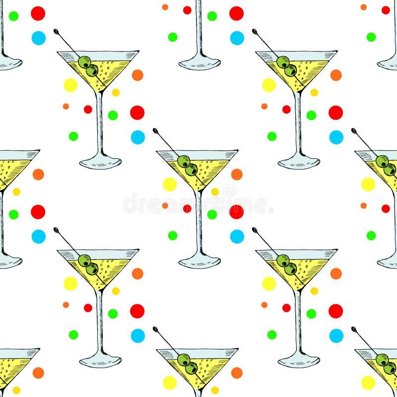 Martini με την ελιά στο γυαλί στο χρώμα, άνευ ραφής 1 απεικόνιση αποθεμάτων