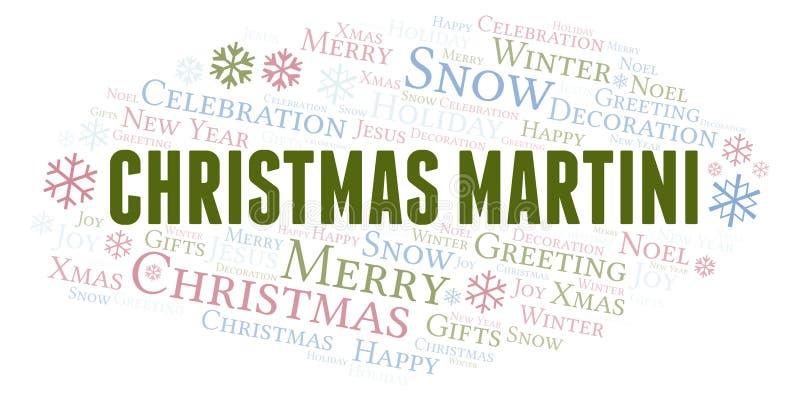 Martini Χριστουγέννων σύννεφο λέξης ελεύθερη απεικόνιση δικαιώματος