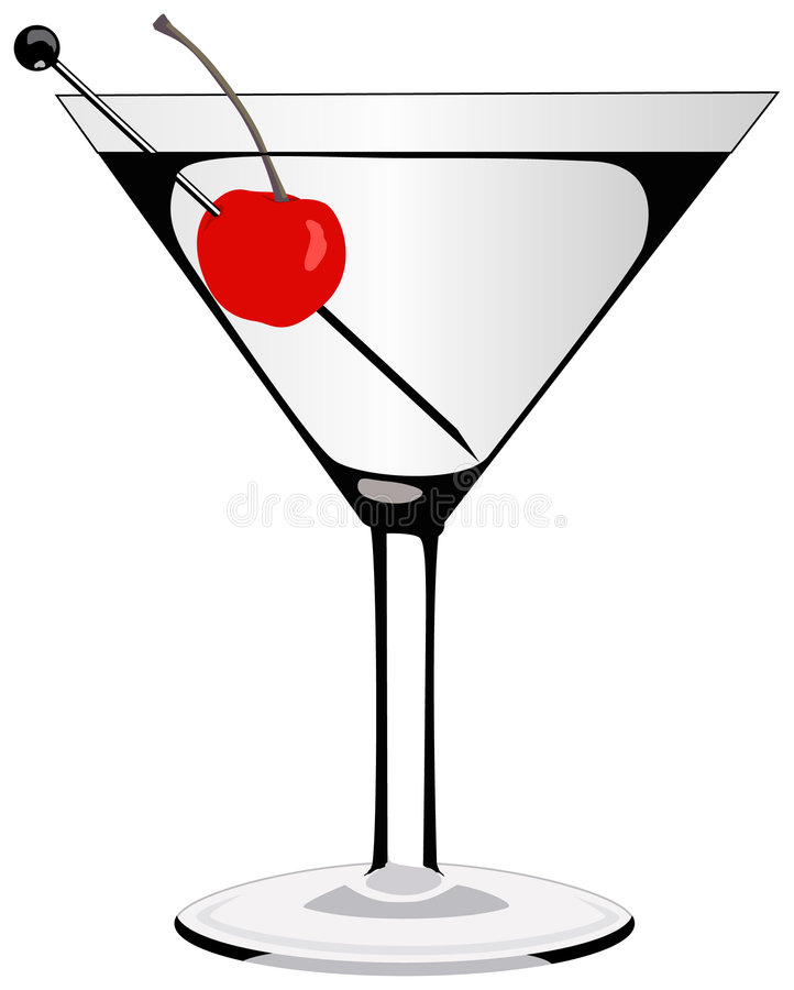 Martini. Glass with a cherry