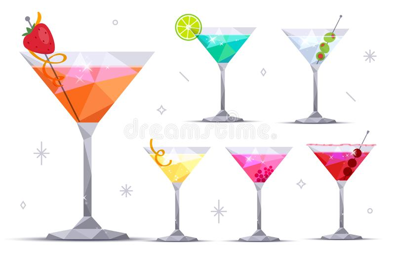 Martini cocktail glasses. Margarita, Blue lagoon, Daiquiri, Cosmopolitan, Dry. Set of martini cocktail glasses on white background. Margarita, Blue lagoon vector illustration