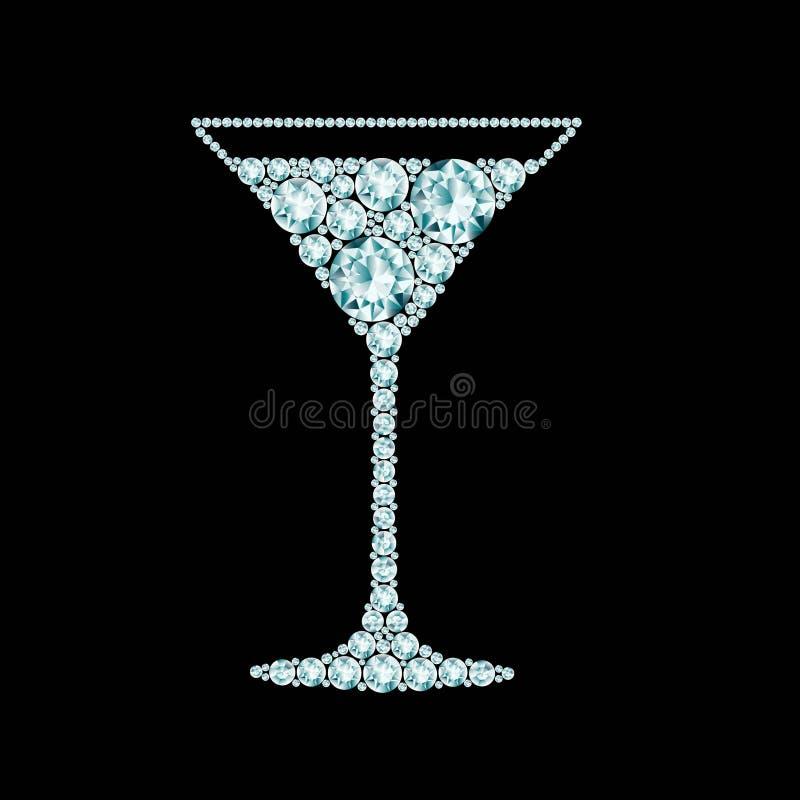 Martini-cocktail van diamanten wordt gemaakt die stock illustratie
