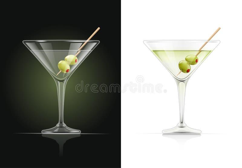 Martini, coctel Cóctel con la aceituna stock de ilustración
