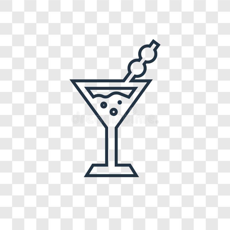 Martini-concepten vector lineair die pictogram op transparante backg wordt geïsoleerd stock illustratie