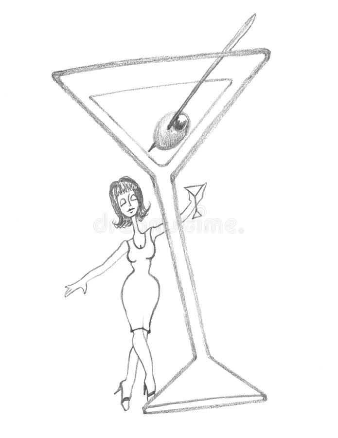 Martini Diva behind a Classic Martini stock photo