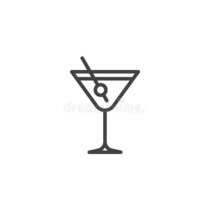 Martini drink with olive line icon. Linear style sign for mobile concept and web design. Margarita cocktail glass outline vector icon. Symbol, logo stock illustration
