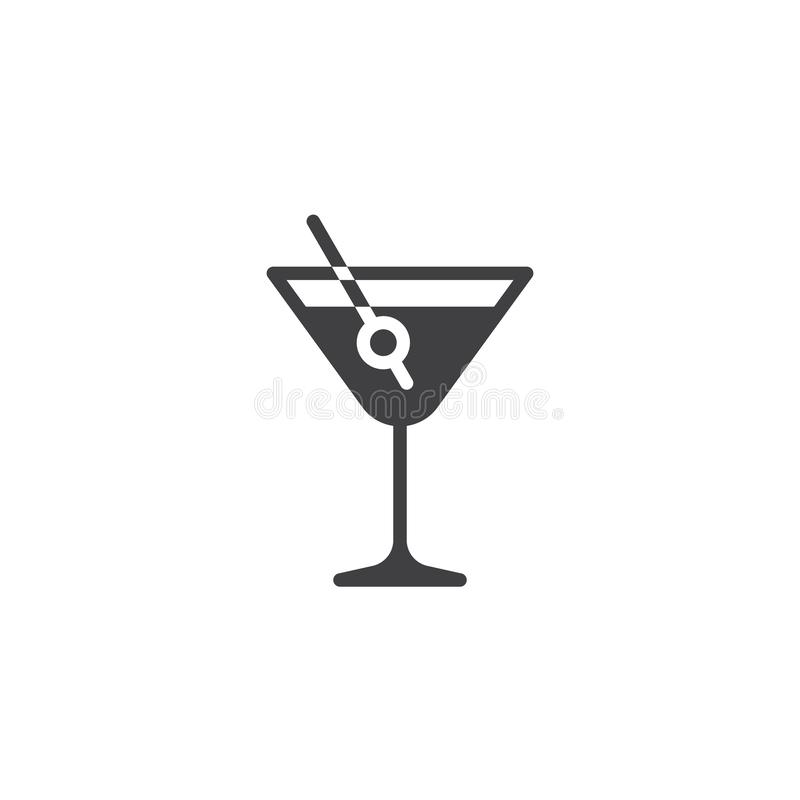 Martini drink with olive vector icon. Filled flat sign for mobile concept and web design. Margarita cocktail glass glyph icon. Symbol, logo illustration. Pixel stock illustration
