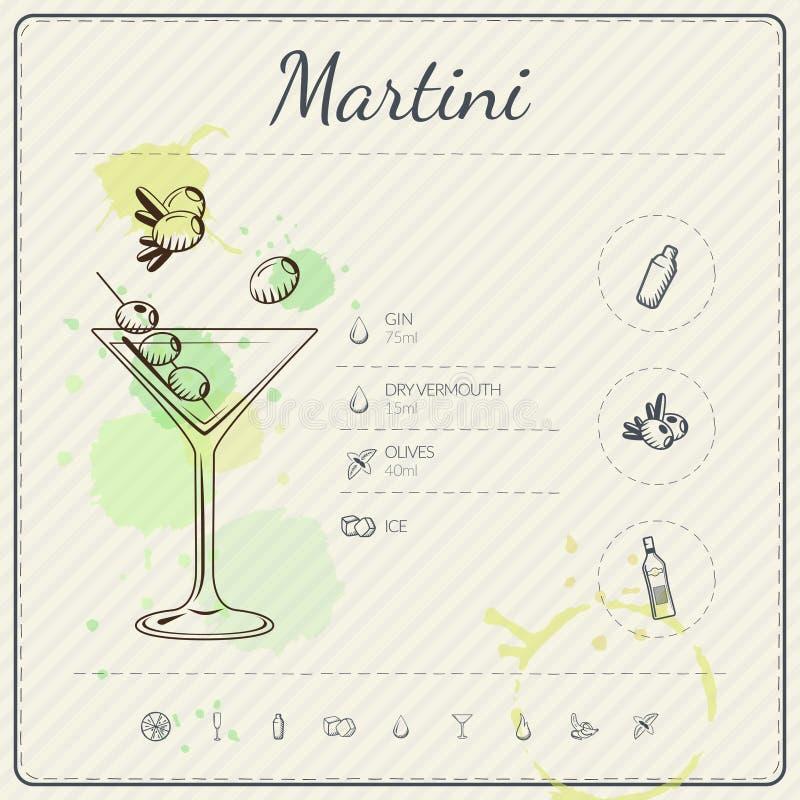 martini Ensemble infographic de cocktail Illustration de vecteur Fond coloré d'aquarelle illustration libre de droits
