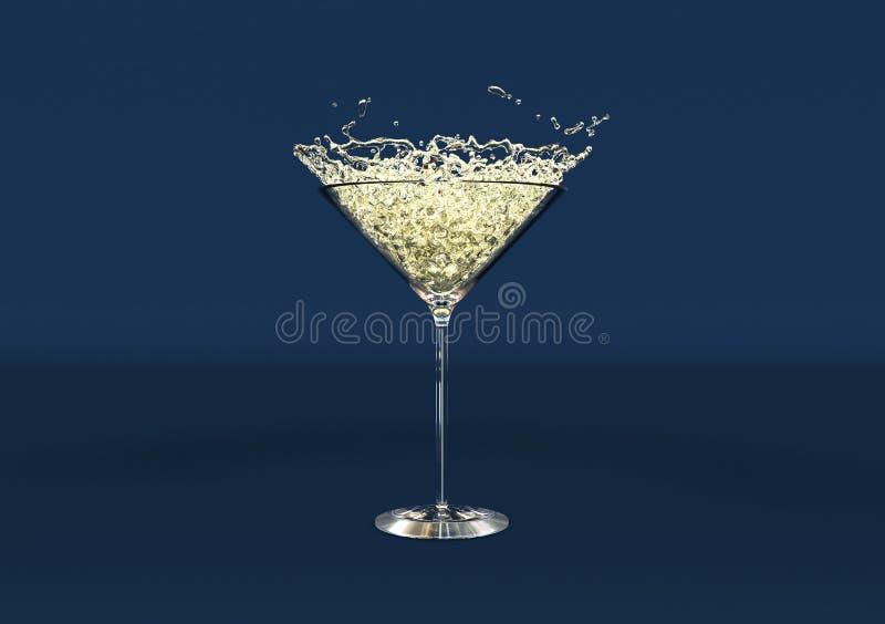 Martini exponeringsglas med vattendroppar P? m?rkret - bl?ttbakgrund framf?rande 3d royaltyfri illustrationer