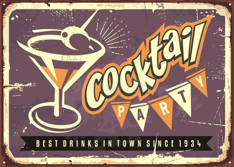 Martini exponeringsglas på purpurfärgad bakgrund stock illustrationer