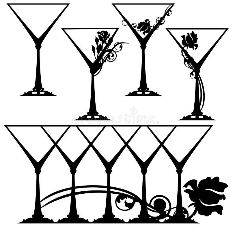 Martini exponeringsglasuppsättning vektor illustrationer
