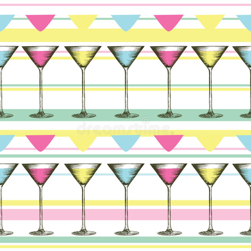 Martini-glas met kleurrijke dranken in gegraveerde stijl Naadloos patroon van glazen op gestreepte achtergrond