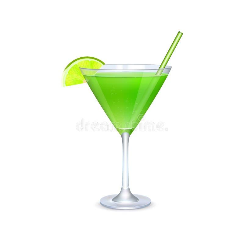 Martini-Glas mit grünem Cocktail stockbilder